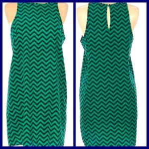Everly Chevron Navy and Green Dress